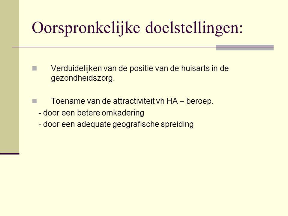 Oorspronkelijke doelstellingen: Verduidelijken van de positie van de huisarts in de gezondheidszorg. Toename van de attractiviteit vh HA – beroep. - d
