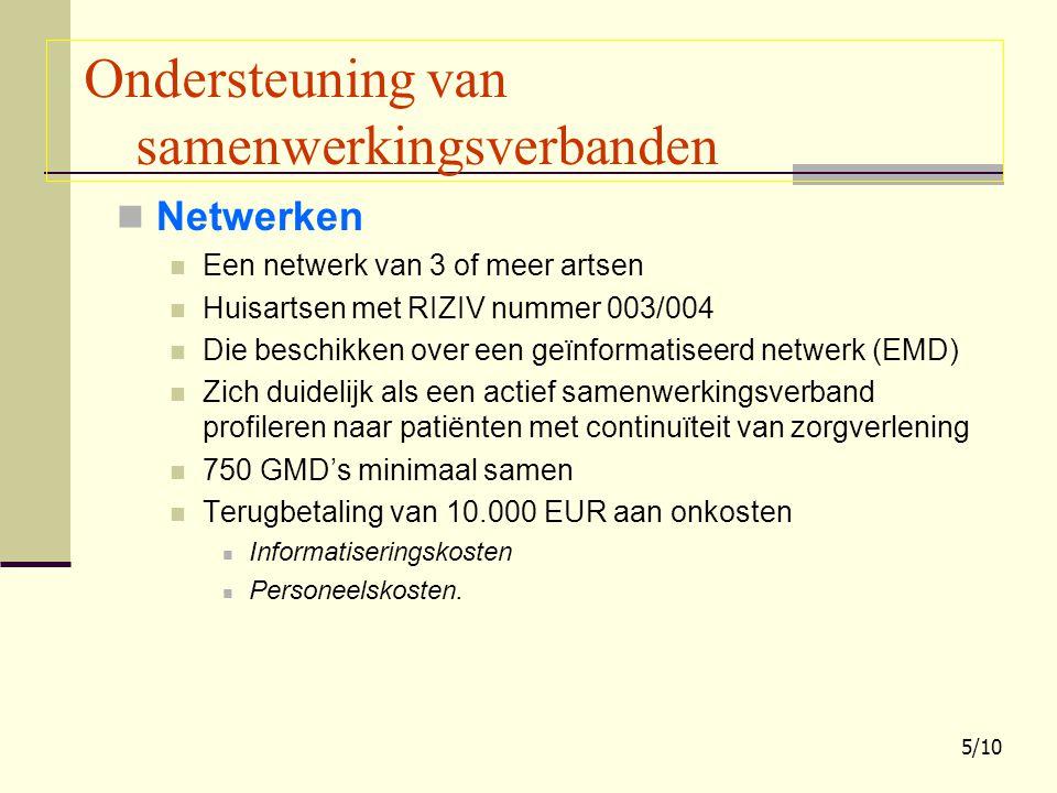 Netwerken Een netwerk van 3 of meer artsen Huisartsen met RIZIV nummer 003/004 Die beschikken over een geïnformatiseerd netwerk (EMD) Zich duidelijk a