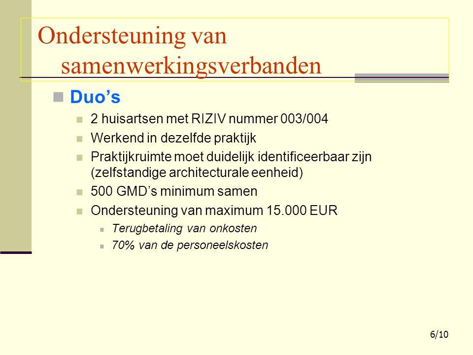 Duo's 2 huisartsen met RIZIV nummer 003/004 Werkend in dezelfde praktijk Praktijkruimte moet duidelijk identificeerbaar zijn (zelfstandige architecturale eenheid) 500 GMD's minimum samen Ondersteuning van maximum 15.000 EUR Terugbetaling van onkosten 70% van de personeelskosten Ondersteuning van samenwerkingsverbanden 6/10