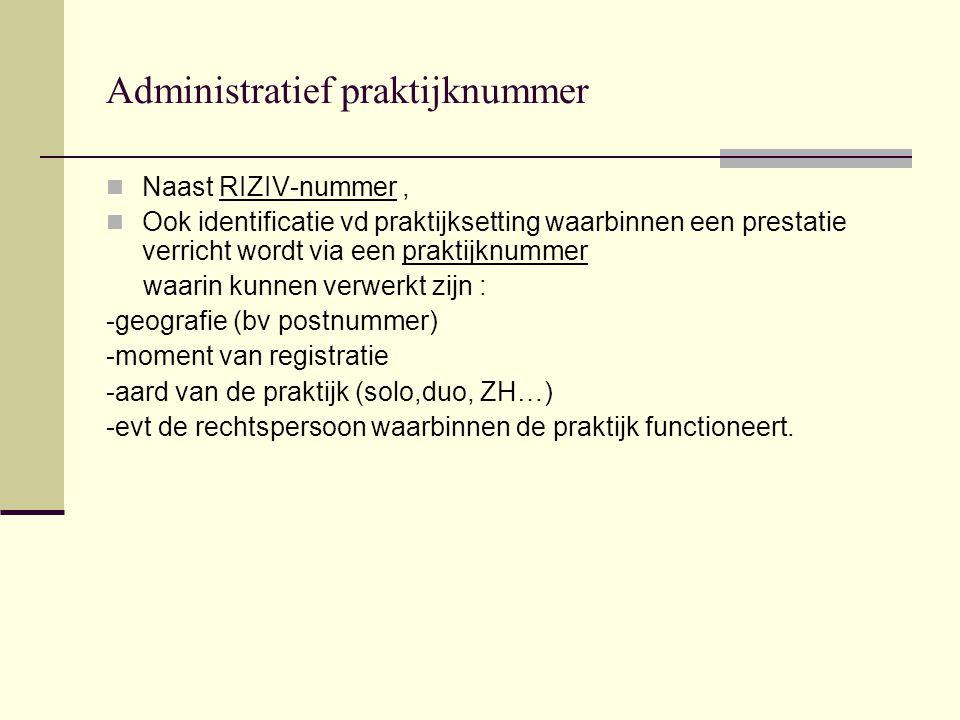 Administratief praktijknummer Naast RIZIV-nummer, Ook identificatie vd praktijksetting waarbinnen een prestatie verricht wordt via een praktijknummer