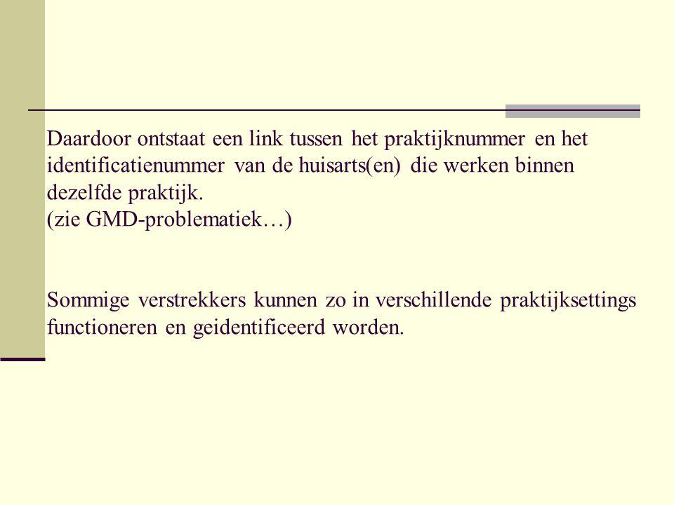 Daardoor ontstaat een link tussen het praktijknummer en het identificatienummer van de huisarts(en) die werken binnen dezelfde praktijk. (zie GMD-prob