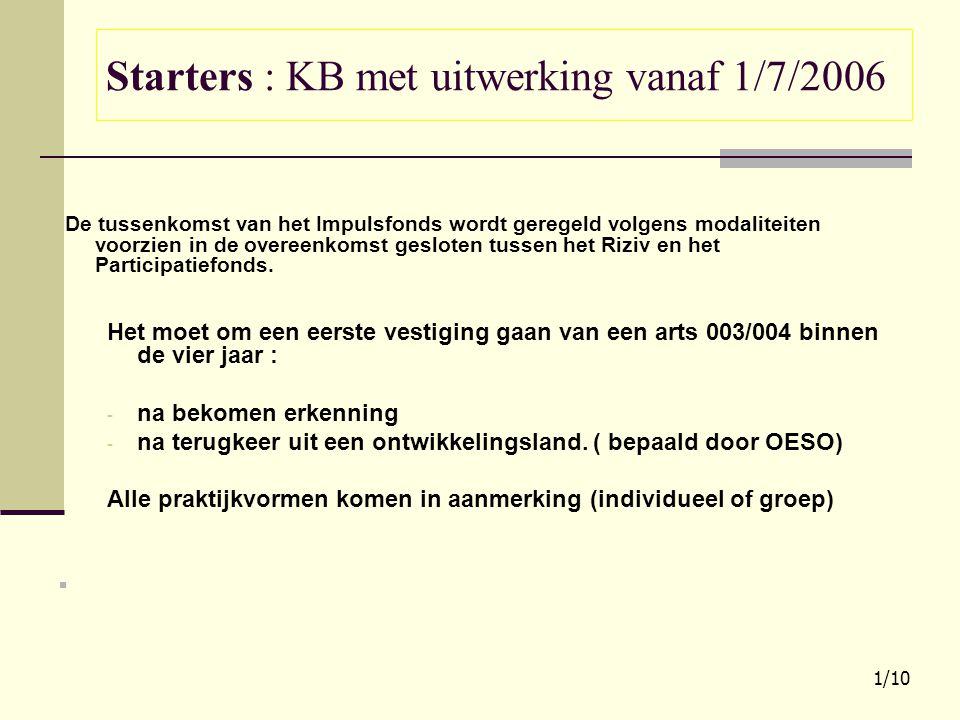 Starters : KB met uitwerking vanaf 1/7/2006 De tussenkomst van het Impulsfonds wordt geregeld volgens modaliteiten voorzien in de overeenkomst geslote