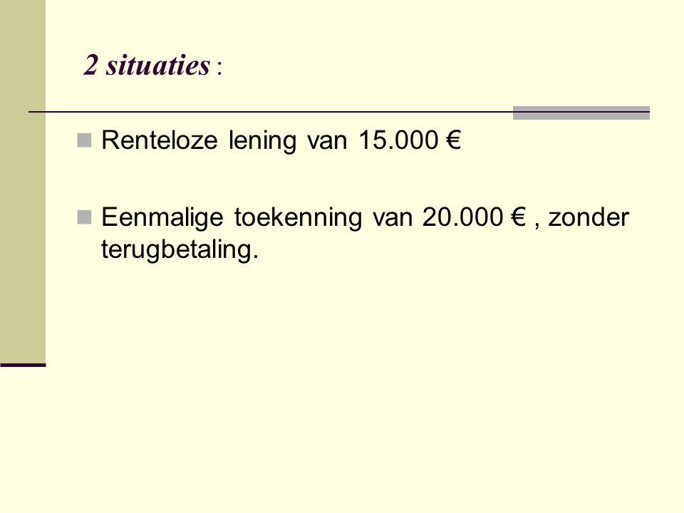 2 situaties : Renteloze lening van 15.000 € Eenmalige toekenning van 20.000 €, zonder terugbetaling.
