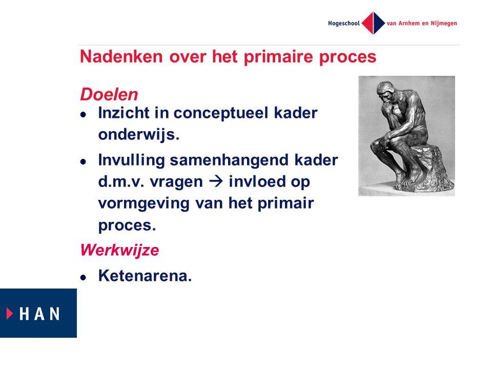 Nadenken over het primaire proces Doelen Inzicht in conceptueel kader onderwijs. Invulling samenhangend kader d.m.v. vragen  invloed op vormgeving va