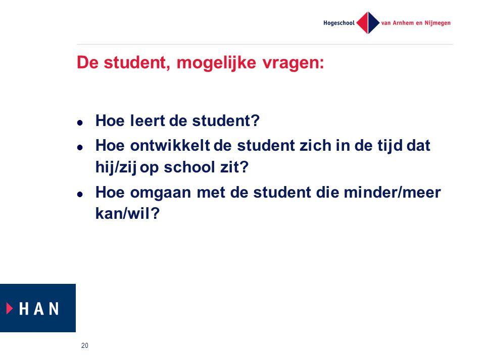 De student, mogelijke vragen: Hoe leert de student? Hoe ontwikkelt de student zich in de tijd dat hij/zij op school zit? Hoe omgaan met de student die