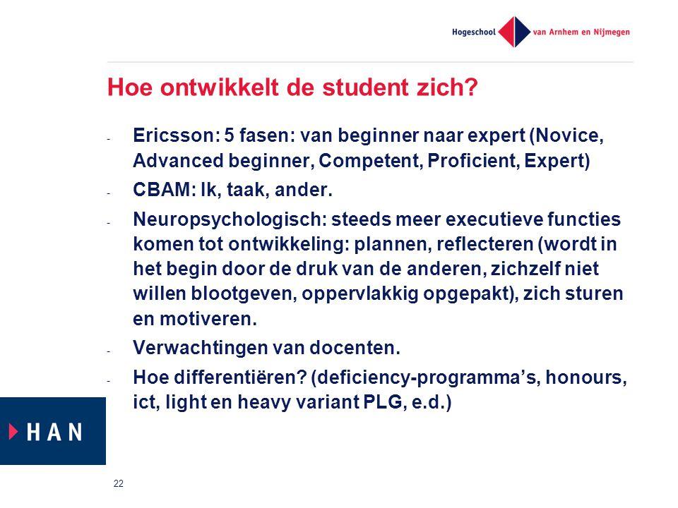 Hoe ontwikkelt de student zich? - Ericsson: 5 fasen: van beginner naar expert (Novice, Advanced beginner, Competent, Proficient, Expert) - CBAM: Ik, t