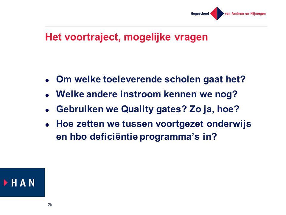 Het voortraject, mogelijke vragen Om welke toeleverende scholen gaat het? Welke andere instroom kennen we nog? Gebruiken we Quality gates? Zo ja, hoe?