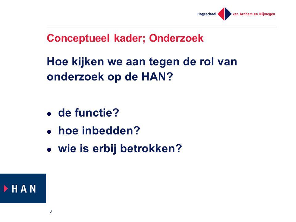 Conceptueel kader; Onderzoek Hoe kijken we aan tegen de rol van onderzoek op de HAN? de functie? hoe inbedden? wie is erbij betrokken? 8