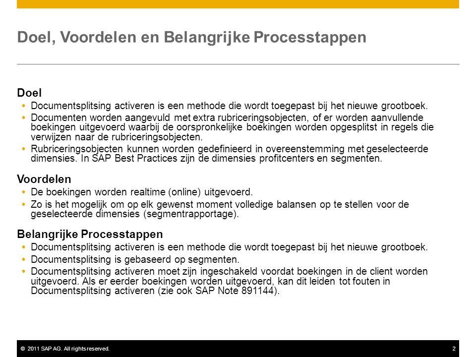 ©2011 SAP AG. All rights reserved.2 Doel, Voordelen en Belangrijke Processtappen Doel  Documentsplitsing activeren is een methode die wordt toegepast