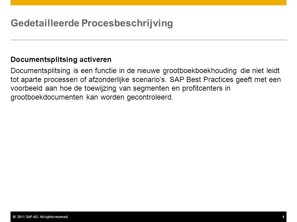 ©2011 SAP AG. All rights reserved.4 Gedetailleerde Procesbeschrijving Documentsplitsing activeren Documentsplitsing is een functie in de nieuwe grootb
