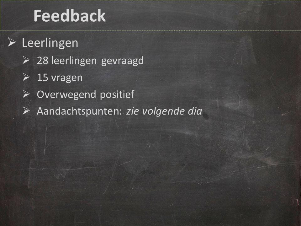Feedback  Leerlingen  28 leerlingen gevraagd  15 vragen  Overwegend positief  Aandachtspunten: zie volgende dia