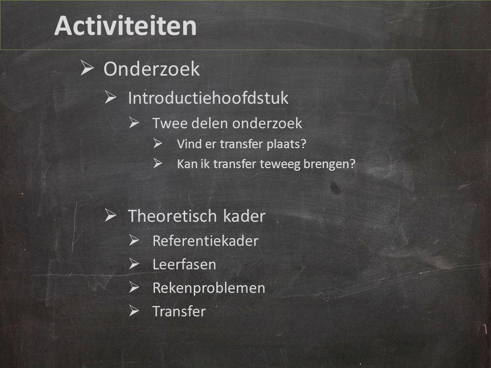 Activiteiten  Onderzoek  Introductiehoofdstuk  Twee delen onderzoek  Vind er transfer plaats.