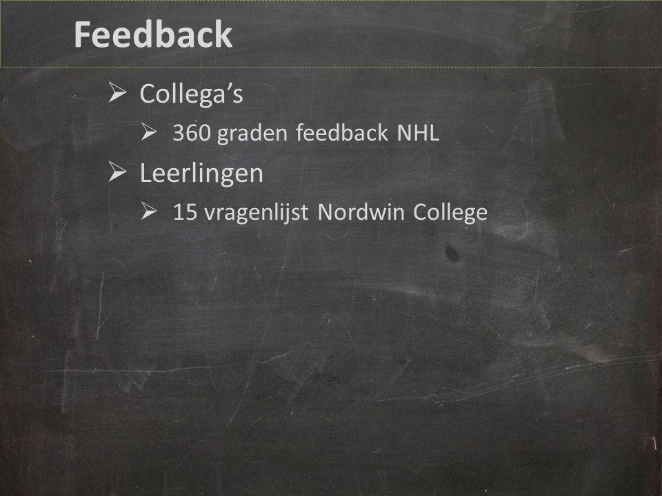 Feedback  Collega's  360 graden feedback NHL  Leerlingen  15 vragenlijst Nordwin College