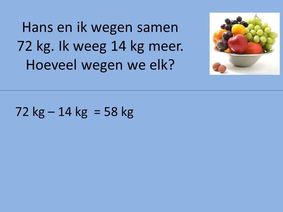 72 kg – 14 kg = 58 kg