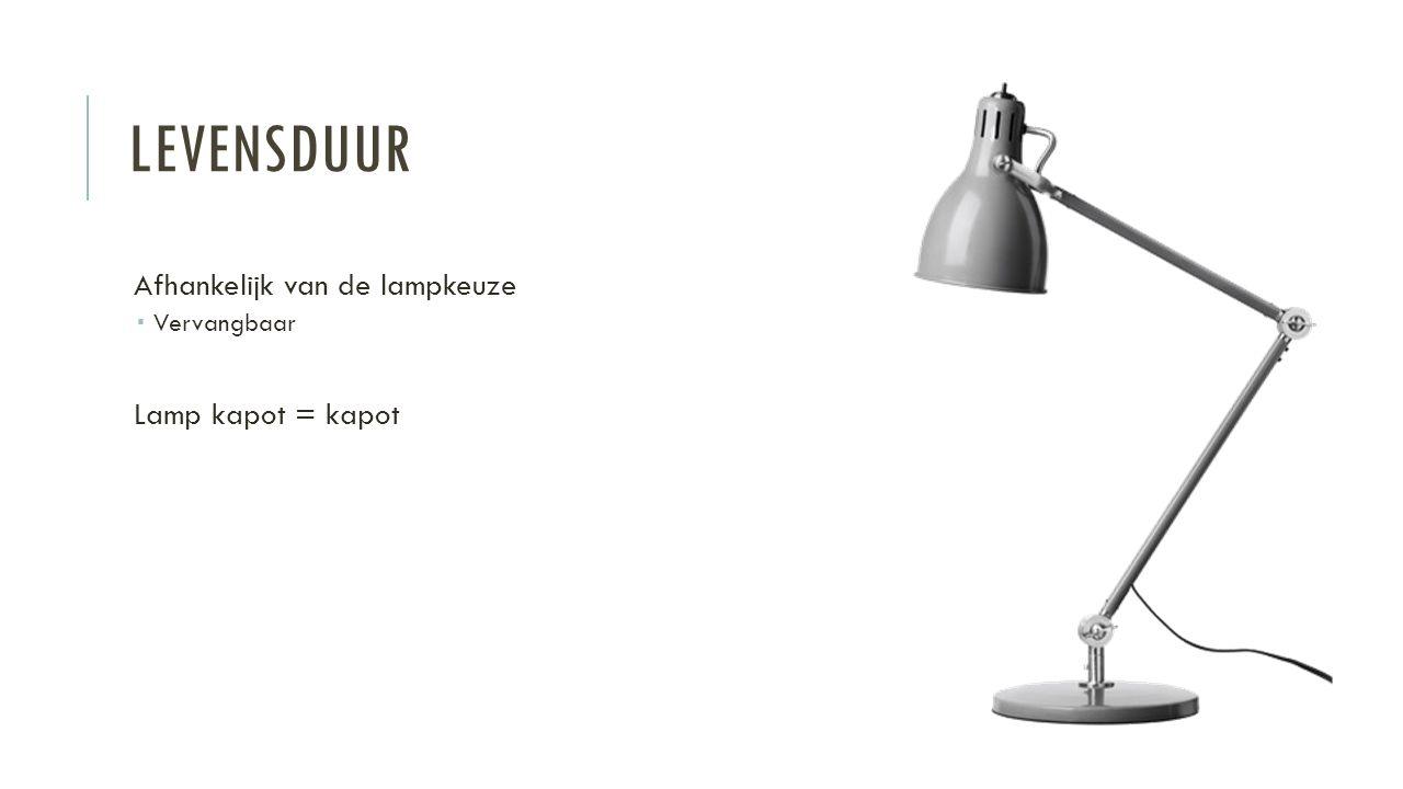 LEVENSDUUR Afhankelijk van de lampkeuze  Vervangbaar Lamp kapot = kapot