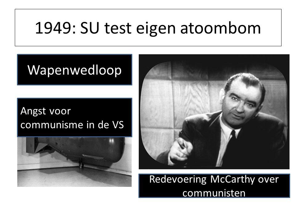 1949: SU test eigen atoombom Wapenwedloop Kernwapens Verenigde Staten; 1946; 9 1948; 50 1952; 841 1962; 28.000 Sovjet Unie; 1950; 5 1959; 1.700 Angst