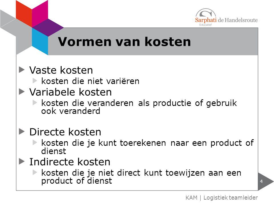 Vaste kosten kosten die niet variëren Variabele kosten kosten die veranderen als productie of gebruik ook veranderd Directe kosten kosten die je kunt