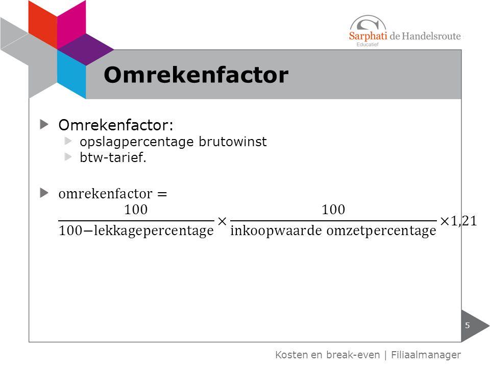 Kosten en break-even | Filiaalmanager Omrekenfactor 5