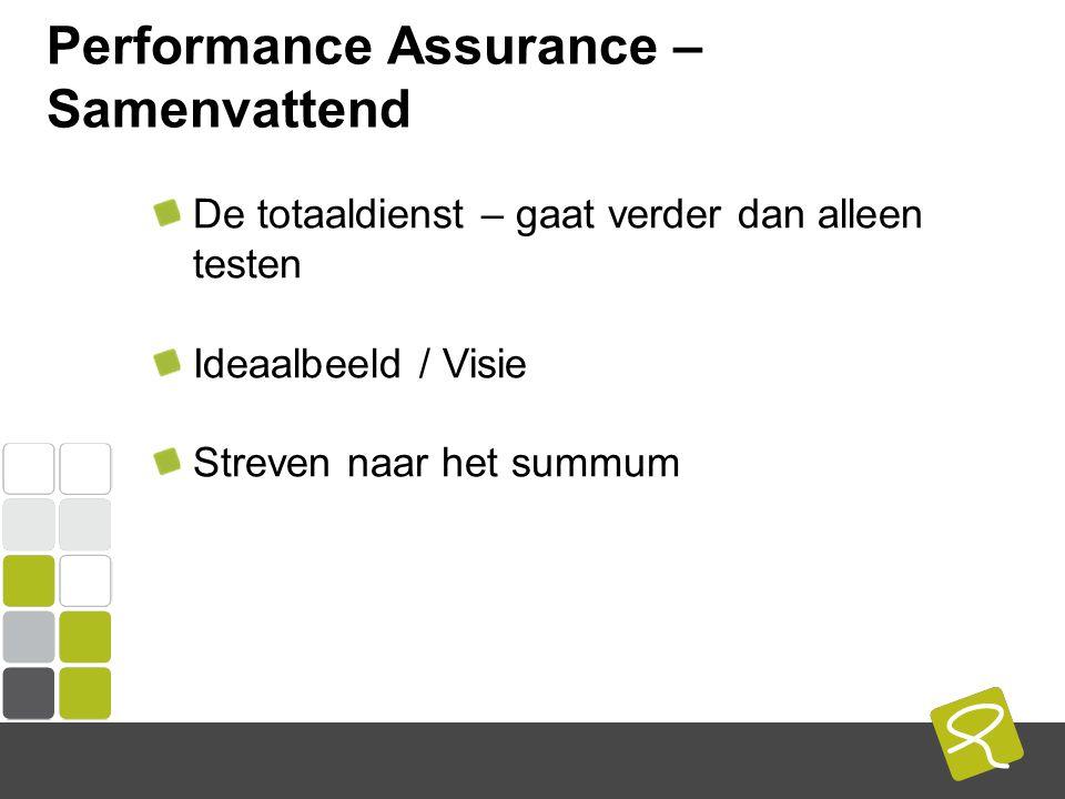 COMPUTEST BORREL – 2 Mei 2014 Performance Assurance – Samenvattend De totaaldienst – gaat verder dan alleen testen Ideaalbeeld / Visie Streven naar het summum