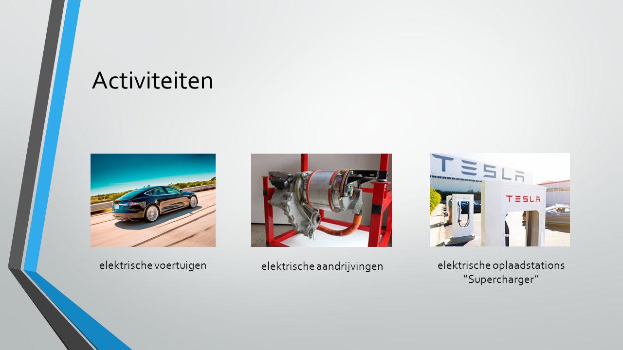 Activiteiten elektrische voertuigen elektrische aandrijvingen elektrische oplaadstations Supercharger