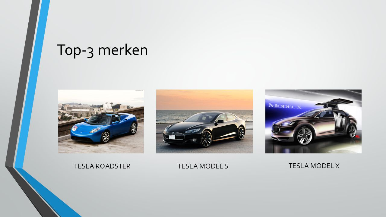 Top-3 merken TESLA ROADSTER TESLA MODEL S TESLA MODEL X