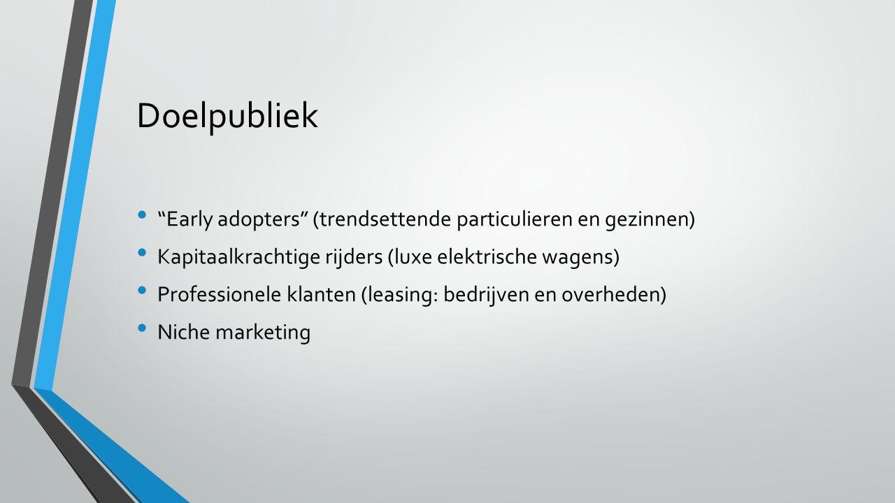 Doelpubliek Early adopters (trendsettende particulieren en gezinnen) Kapitaalkrachtige rijders (luxe elektrische wagens) Professionele klanten (leasing: bedrijven en overheden) Niche marketing