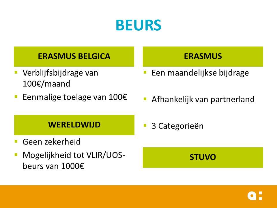 ERASMUS BELGICA  Verblijfsbijdrage van 100€/maand  Eenmalige toelage van 100€ ERASMUS  Een maandelijkse bijdrage  Afhankelijk van partnerland  3 Categorieën WERELDWIJD  Geen zekerheid  Mogelijkheid tot VLIR/UOS- beurs van 1000€ STUVO