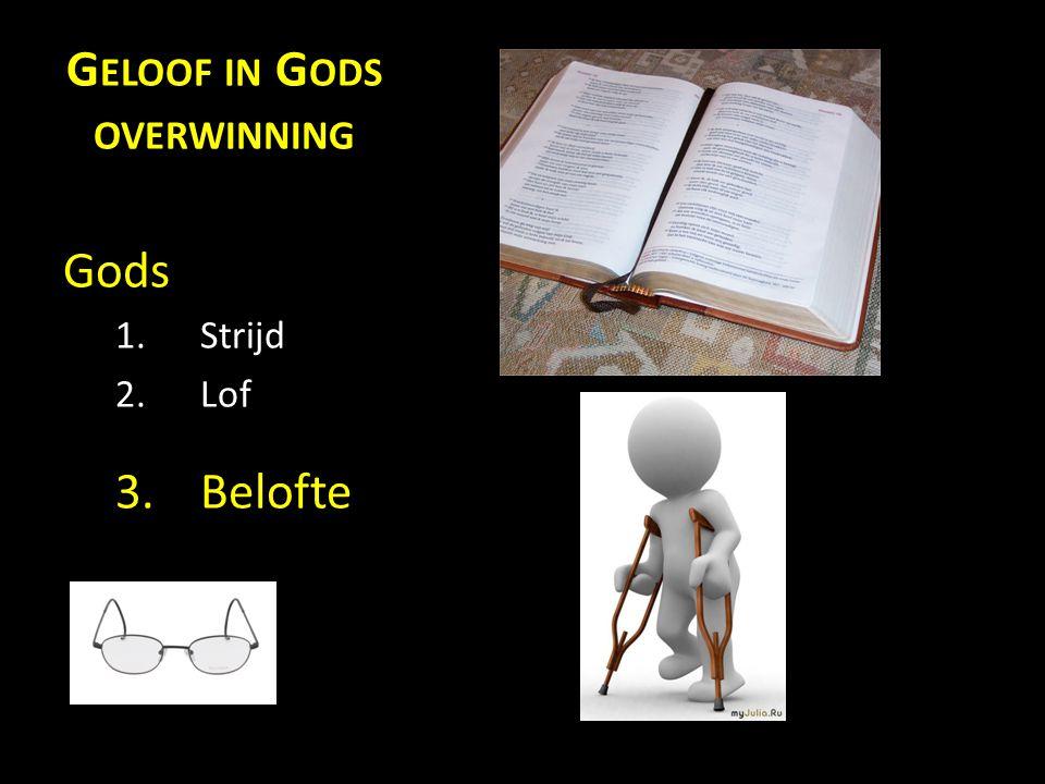 G ELOOF IN G ODS OVERWINNING Gods 1.Strijd 2.Lof 3.Belofte