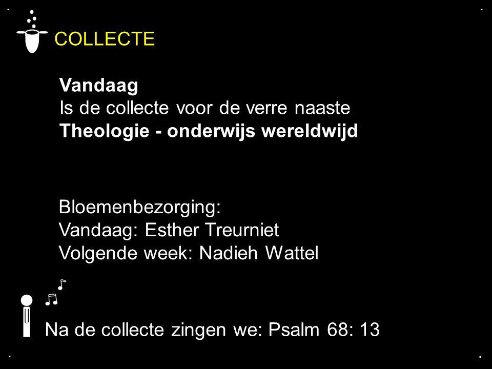 .... COLLECTE Vandaag Is de collecte voor de verre naaste Theologie - onderwijs wereldwijd Na de collecte zingen we: Psalm 68: 13 Bloemenbezorging: Va