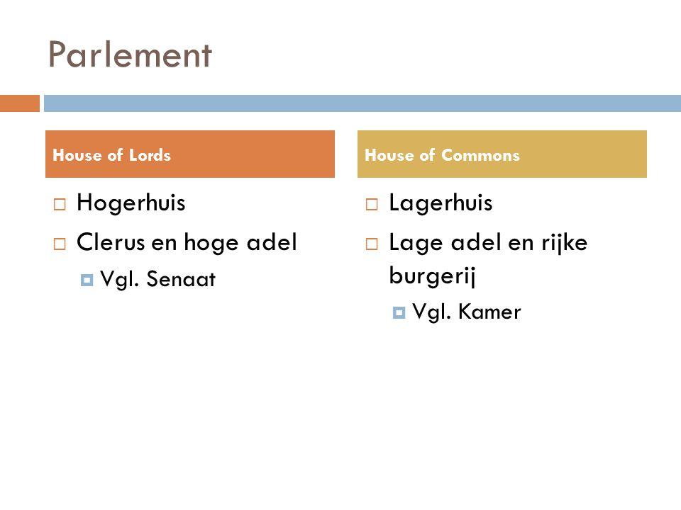 Parlement  Hogerhuis  Clerus en hoge adel  Vgl. Senaat  Lagerhuis  Lage adel en rijke burgerij  Vgl. Kamer House of LordsHouse of Commons