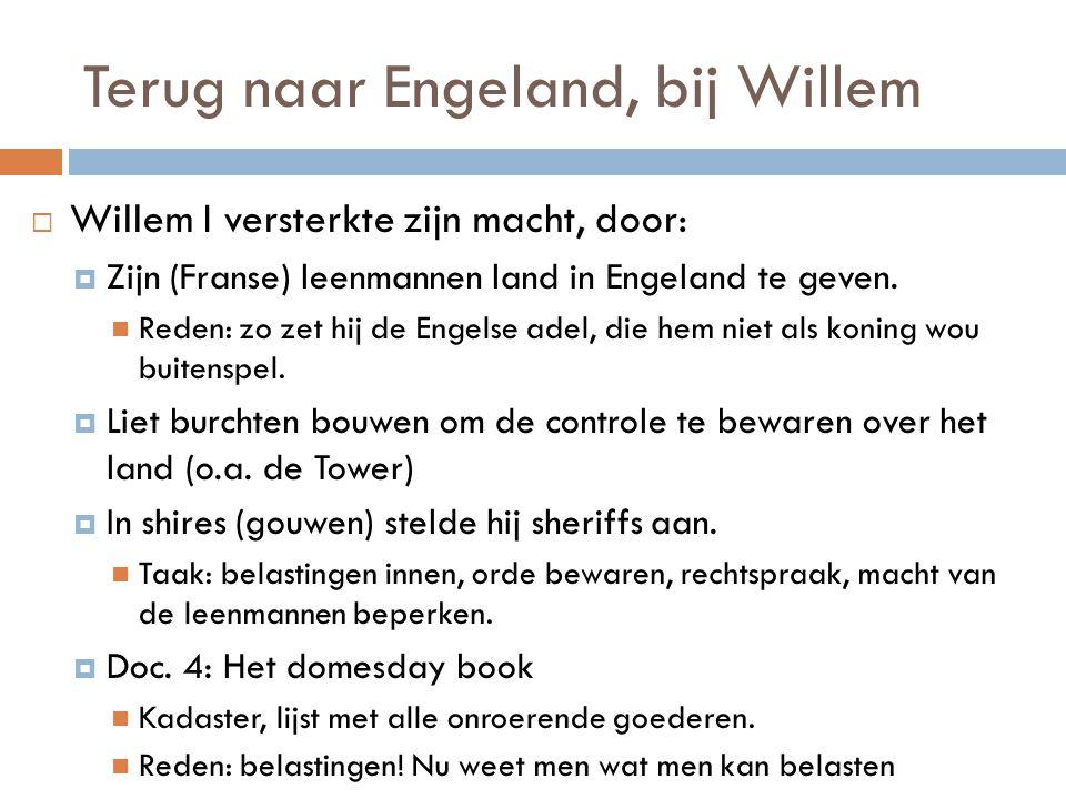 Terug naar Engeland, bij Willem  Willem I versterkte zijn macht, door:  Zijn (Franse) leenmannen land in Engeland te geven. Reden: zo zet hij de Eng