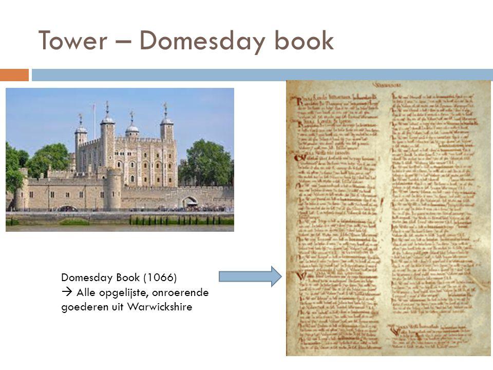 Tower – Domesday book Domesday Book (1066)  Alle opgelijste, onroerende goederen uit Warwickshire