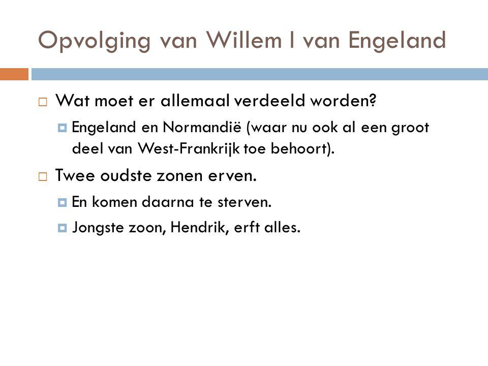 Opvolging van Willem I van Engeland  Wat moet er allemaal verdeeld worden?  Engeland en Normandië (waar nu ook al een groot deel van West-Frankrijk
