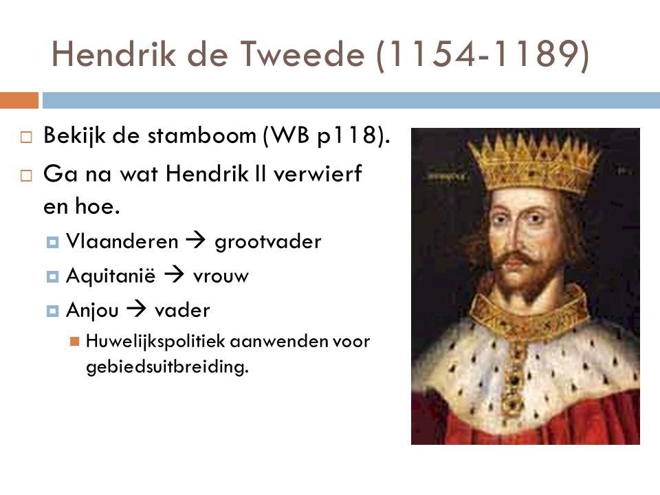 Hendrik de Tweede (1154-1189)  Bekijk de stamboom (WB p118).  Ga na wat Hendrik II verwierf en hoe.  Vlaanderen  grootvader  Aquitanië  vrouw 