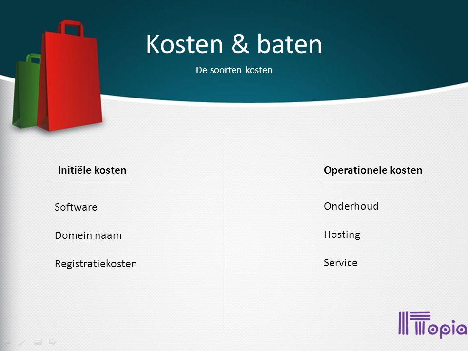 Kosten & baten De soorten kosten Initiële kostenOperationele kosten Software Domein naam Registratiekosten Onderhoud Hosting Service