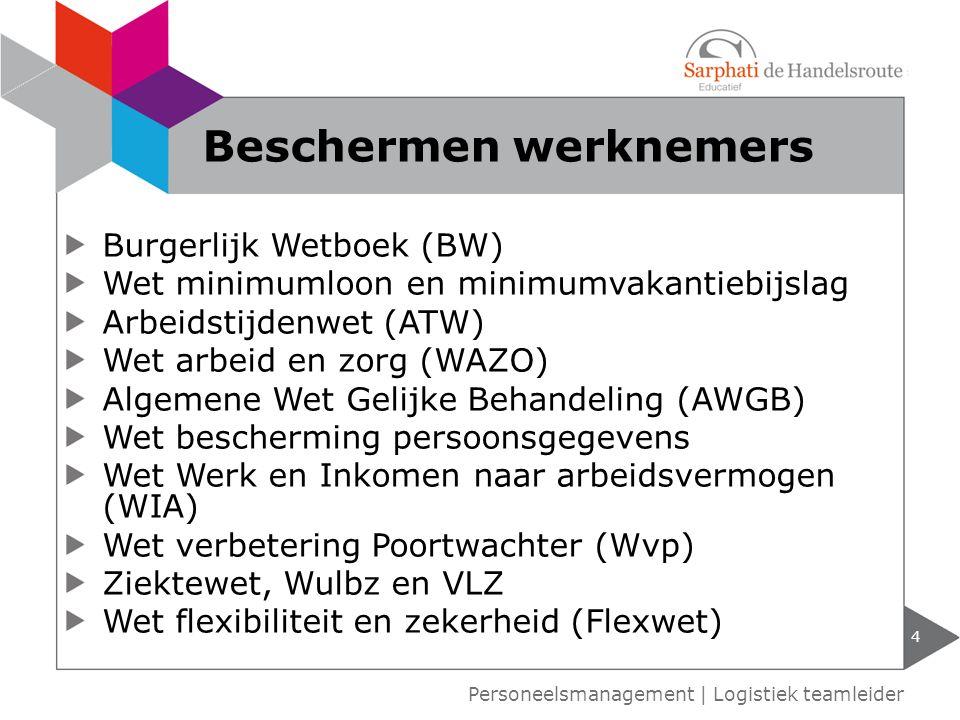 Burgerlijk Wetboek (BW) Wet minimumloon en minimumvakantiebijslag Arbeidstijdenwet (ATW) Wet arbeid en zorg (WAZO) Algemene Wet Gelijke Behandeling (A
