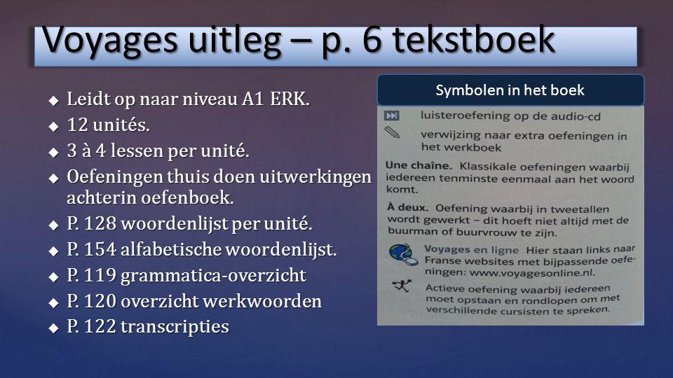Voyages uitleg – p.6 tekstboek  Leidt op naar niveau A1 ERK.