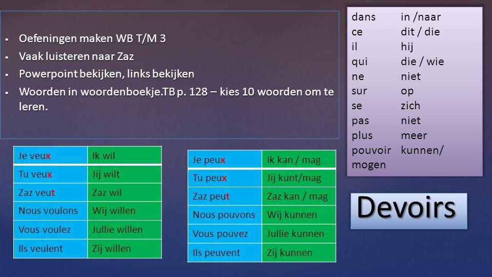  Oefeningen maken WB T/M 3  Vaak luisteren naar Zaz  Powerpoint bekijken, links bekijken  Woorden in woordenboekje.TB p.