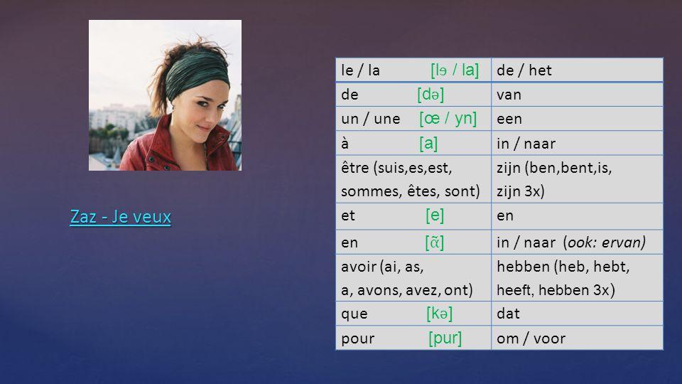 Zaz - Je veux Zaz - Je veux le / la [l ɘ / la] de / het de [d ǝ ] van un / une [œ / yn] een à [a] in / naar être (suis,es,est, sommes, êtes, sont) zijn (ben,bent,is, zijn 3x) et [e] en en [ ᾶ ] in / naar (ook: ervan) avoir (ai, as, a, avons, avez, ont) hebben (heb, hebt, heeft, hebben 3x ) que [k ǝ ] dat pour [pur] om / voor