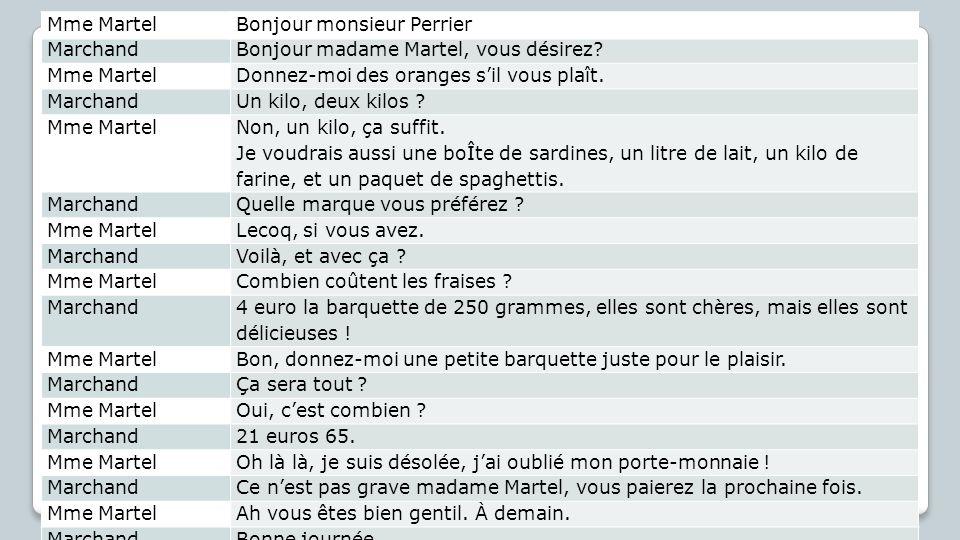 Mme MartelBonjour monsieur Perrier, MarchandBonjour madame Martel, vous désirez.