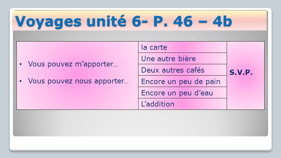 Voyages unité 6- P.