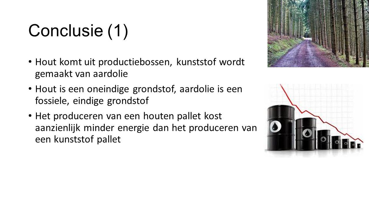 Conclusie (1) Hout komt uit productiebossen, kunststof wordt gemaakt van aardolie Hout is een oneindige grondstof, aardolie is een fossiele, eindige g