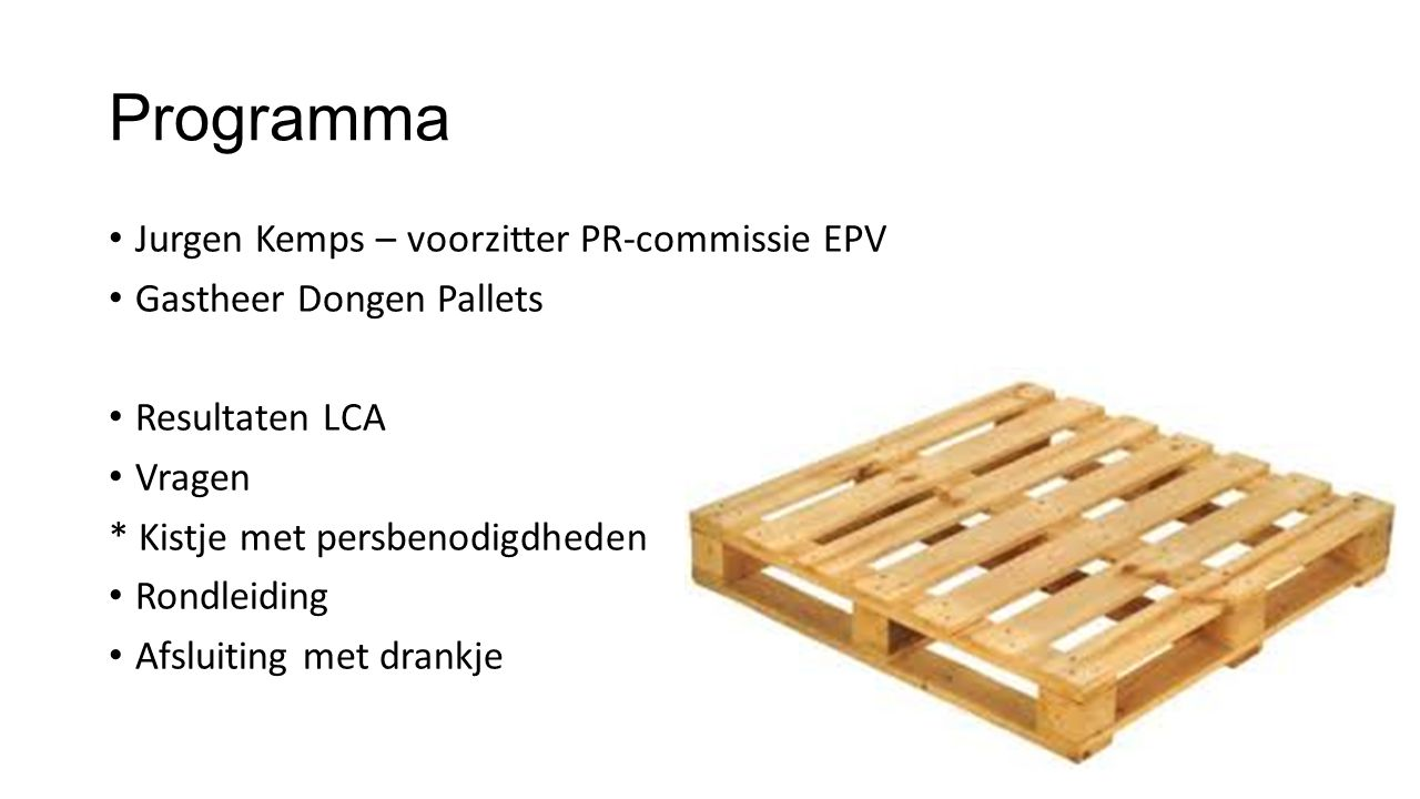 Conclusie(3) In de einde levensfase/afvalfase scoort de houten pallet op alle fronten beter.