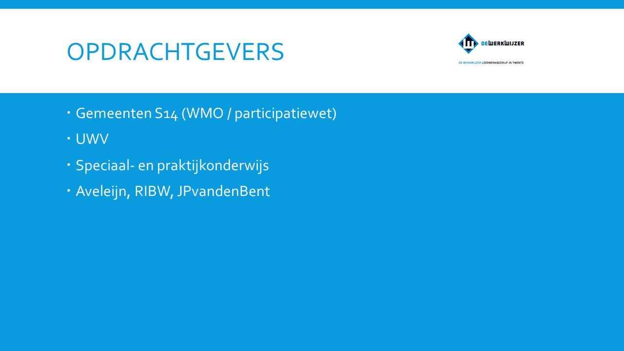 OPDRACHTGEVERS  Gemeenten S14 (WMO / participatiewet)  UWV  Speciaal- en praktijkonderwijs  Aveleijn, RIBW, JPvandenBent