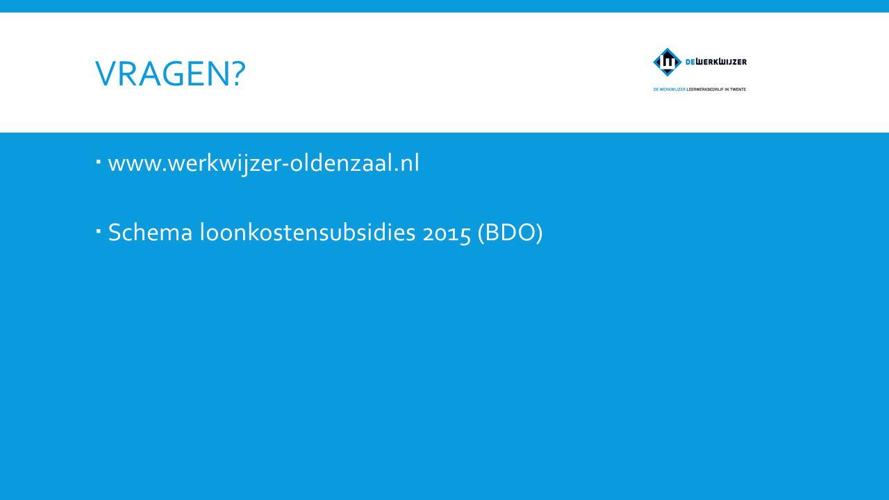 VRAGEN?  www.werkwijzer-oldenzaal.nl  Schema loonkostensubsidies 2015 (BDO)