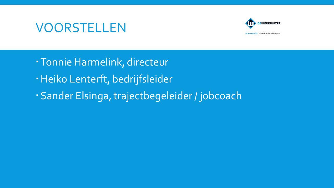 VOORSTELLEN  Tonnie Harmelink, directeur  Heiko Lenterft, bedrijfsleider  Sander Elsinga, trajectbegeleider / jobcoach