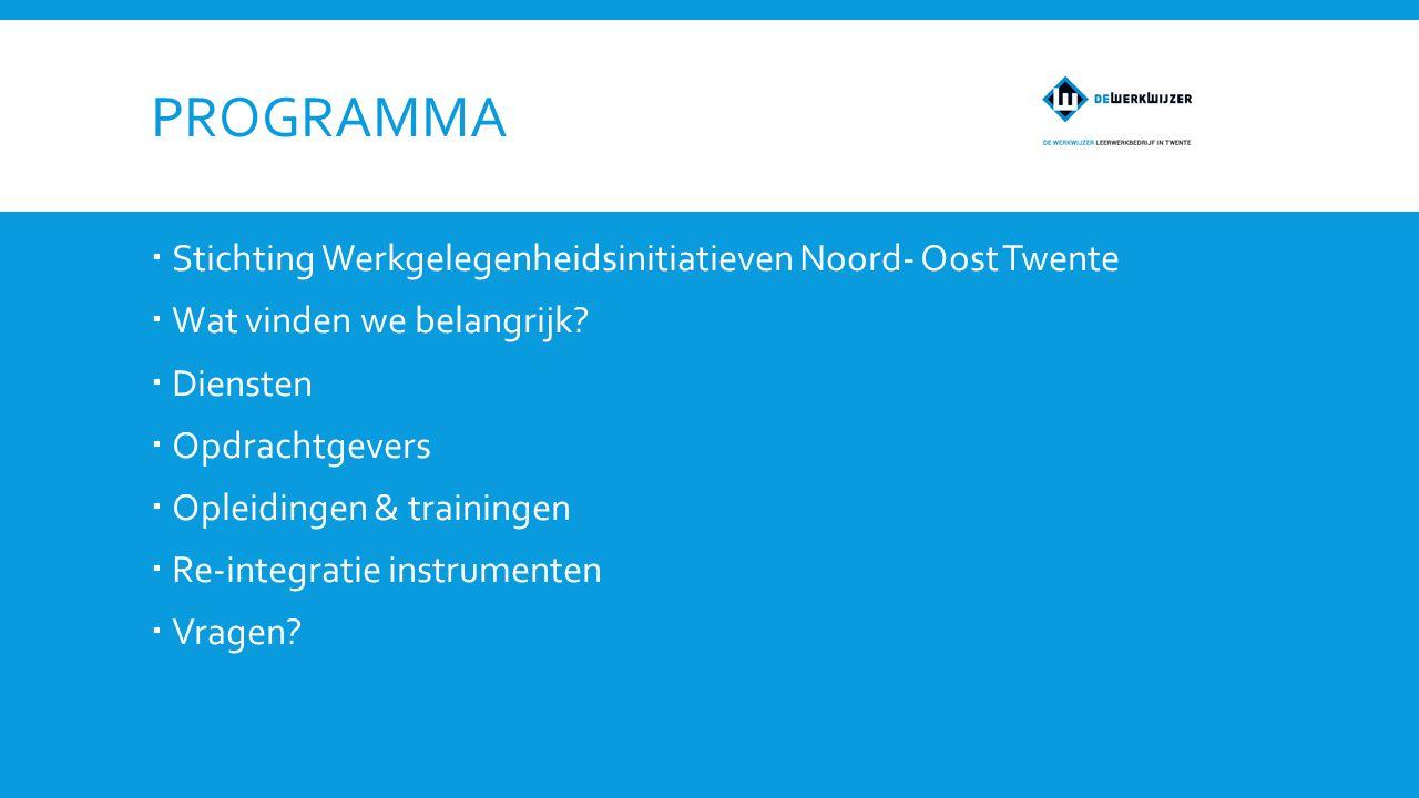 PROGRAMMA  Stichting Werkgelegenheidsinitiatieven Noord- Oost Twente  Wat vinden we belangrijk.