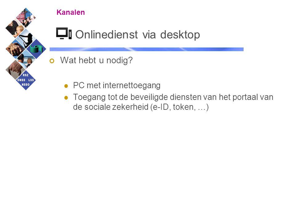 22 Onlinedienst via desktop Wat hebt u nodig? PC met internettoegang Toegang tot de beveiligde diensten van het portaal van de sociale zekerheid (e-ID