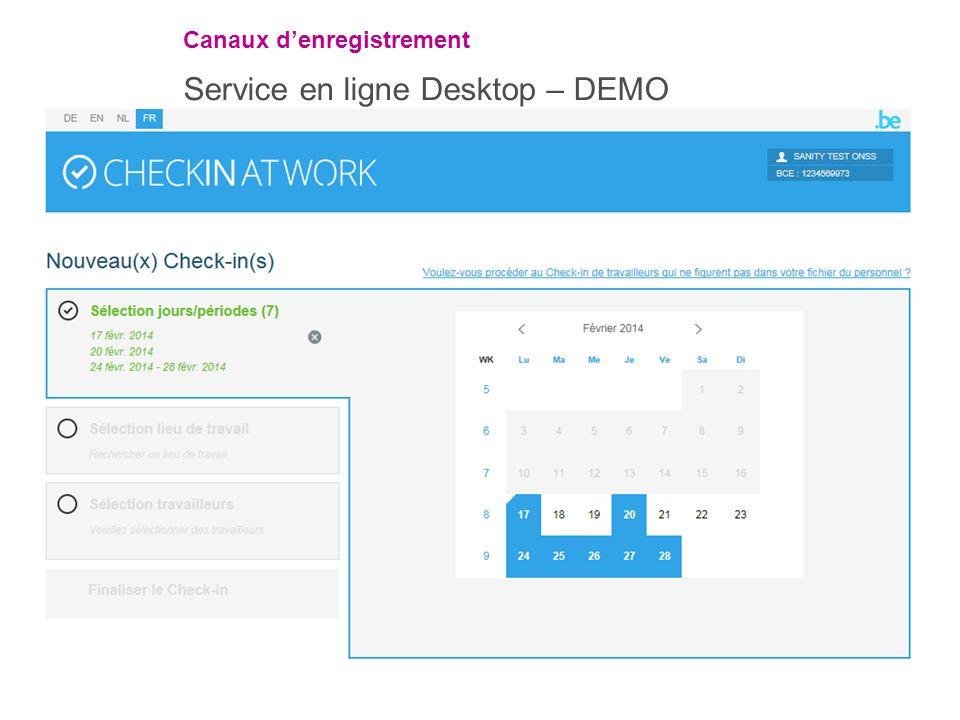 Canaux d'enregistrement Service en ligne Desktop – DEMO