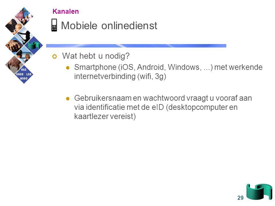 29 Mobiele onlinedienst Wat hebt u nodig? Smartphone (iOS, Android, Windows,...) met werkende internetverbinding (wifi, 3g) Gebruikersnaam en wachtwoo